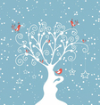decorative winter tree vector image vector image
