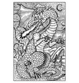 dragon engraved fantasy vector image vector image