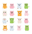 fat pigs icons vector image vector image
