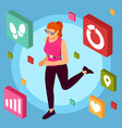 fitness apps isometric background vector image vector image