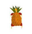 funny pineapple cartoon character man in fruit vector image vector image