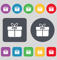 Gift box icon sign A set of 12 colored buttons vector image