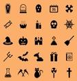Halloween color icons on orange background