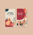 instagram template with autumn forest and animals vector image vector image