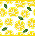 lemons with leaves seamless pattern vector image vector image