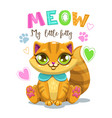 little cute cartoon sitting fluffy kitten vector image vector image