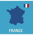 Map and flag of France flat icons vector image