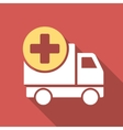 Medical Delivery Flat Square Icon with Long Shadow vector image vector image