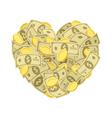 Money heart vector image vector image