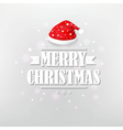 Retro Christmas Poster With Red Santa Cap vector image vector image