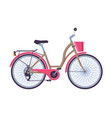 retro city bicycle with basket ecological sport vector image vector image