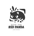 save the red panda logo design protection of wild vector image