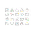 set line icons freelancer and online education vector image