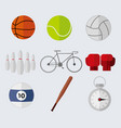 simple flat style sport stuffs graphic set vector image