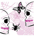 skulls with spiderweb and butterfly vector image vector image