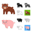 toy animals cartoonblackflatmonochromeoutline vector image