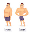 two characters fat and muscular man visualization vector image