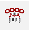 urban gang emblem with brass knuckles