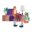 woman with children in living room avatar vector image