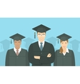 Young people graduate bachelor degree flat concept vector image vector image