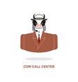 Cow call Center Bull with headset Farm animal vector image