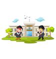 graduation celebration with background building ca vector image