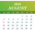 2019 calendar template - august vector image vector image