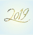 2019 grunge golden lettering and blue confetti vector image vector image