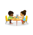 african american and girl sit at round vector image