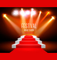 art background with a red carpet and spotlight vector image vector image