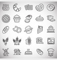 bakery outline icons set on white background for vector image