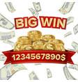 big win isolated golden casino treasure vector image vector image