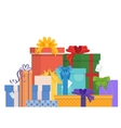 birthday and christmas holidays wrapped gift vector image vector image