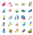 business communication icons set isometric style vector image vector image