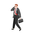 businessman goes to work manager working with vector image