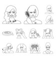 care of hair and face outline icons in set vector image vector image
