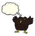cartoon black bird with thought bubble vector image vector image