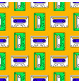 cassette tape vintage seamless pattern vector image
