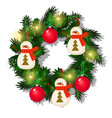 christmas wreath of fir twigs red baubles vector image