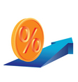 coin with percent sign vector image vector image