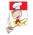 cooking a burger patty vector image