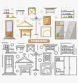 corridor furniture set in flat style vector image vector image