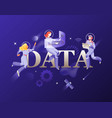 data word and developers in spacesuits vector image