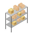 delivery box shelf icon isometric style vector image