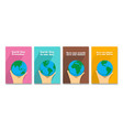 earth day holiday poster in flat design set vector image