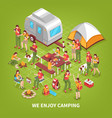 expedition camping isometric poster vector image vector image