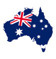 flag and map of australia geographic australian vector image vector image