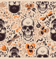 gorgeous floral seamless pattern with skeleton vector image