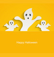 halloween yellow background with scary ghosts vector image vector image