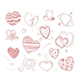 Hand drawn hearts doodle icons for wedding vector image vector image